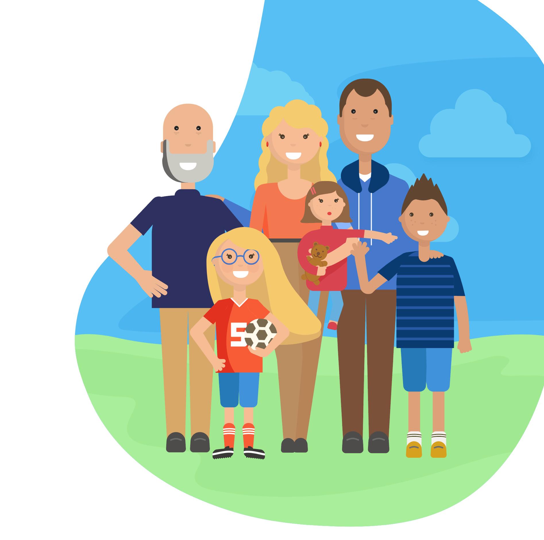 Familia feliz formada por padres, tres hijos y un abuelo