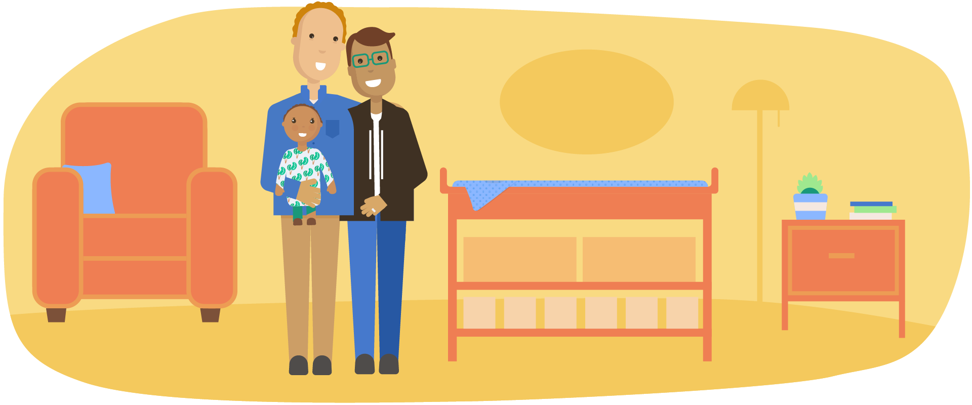 Couple holding their infant in a nursery