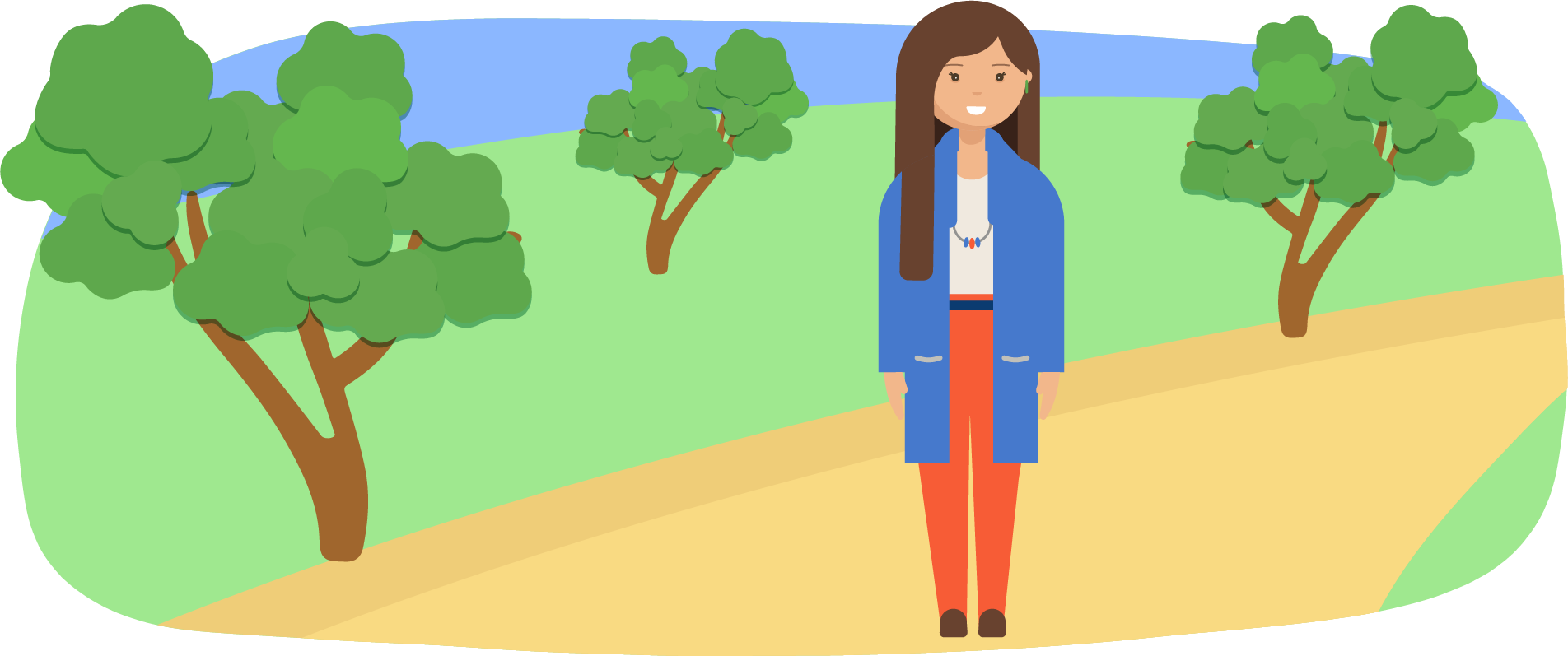Woman standing on a path in a park