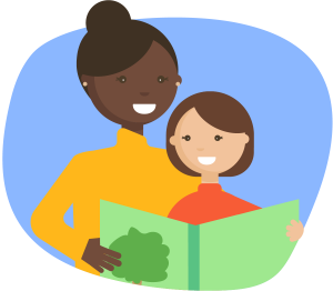Woman reading a book to child
