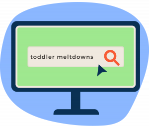 Computer screen showing a search for help with toddler meltdowns